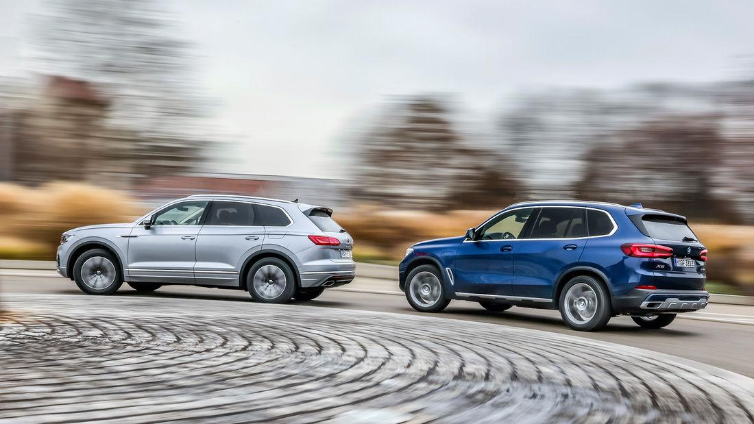 test comparativ BMW X5 xdrive45e vs VW Touareg eHybrid