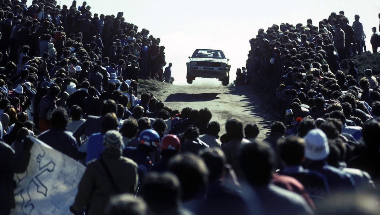 Walter Röhrl și quattro șerpuind printr-o mare de oameni - Portugalia, 1985